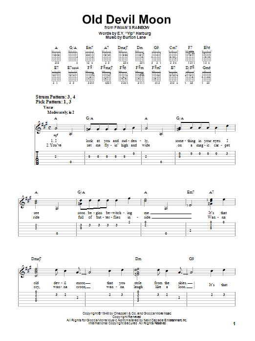 Tablature guitare Old Devil Moon de E.Y. Harburg - Tablature guitare facile