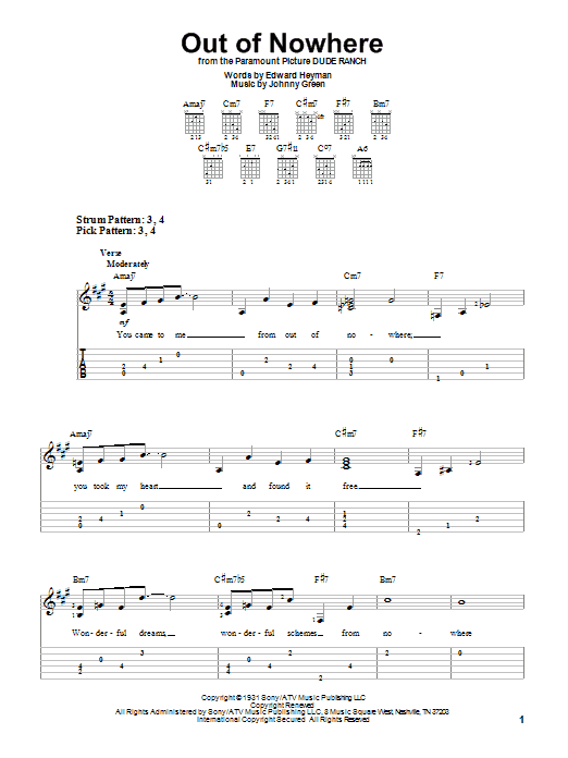 Out Of Nowhere (Easy Guitar Tab)