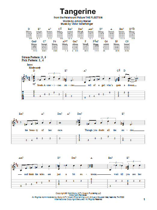 Tablature guitare Tangerine de Johnny Mercer - Tablature guitare facile