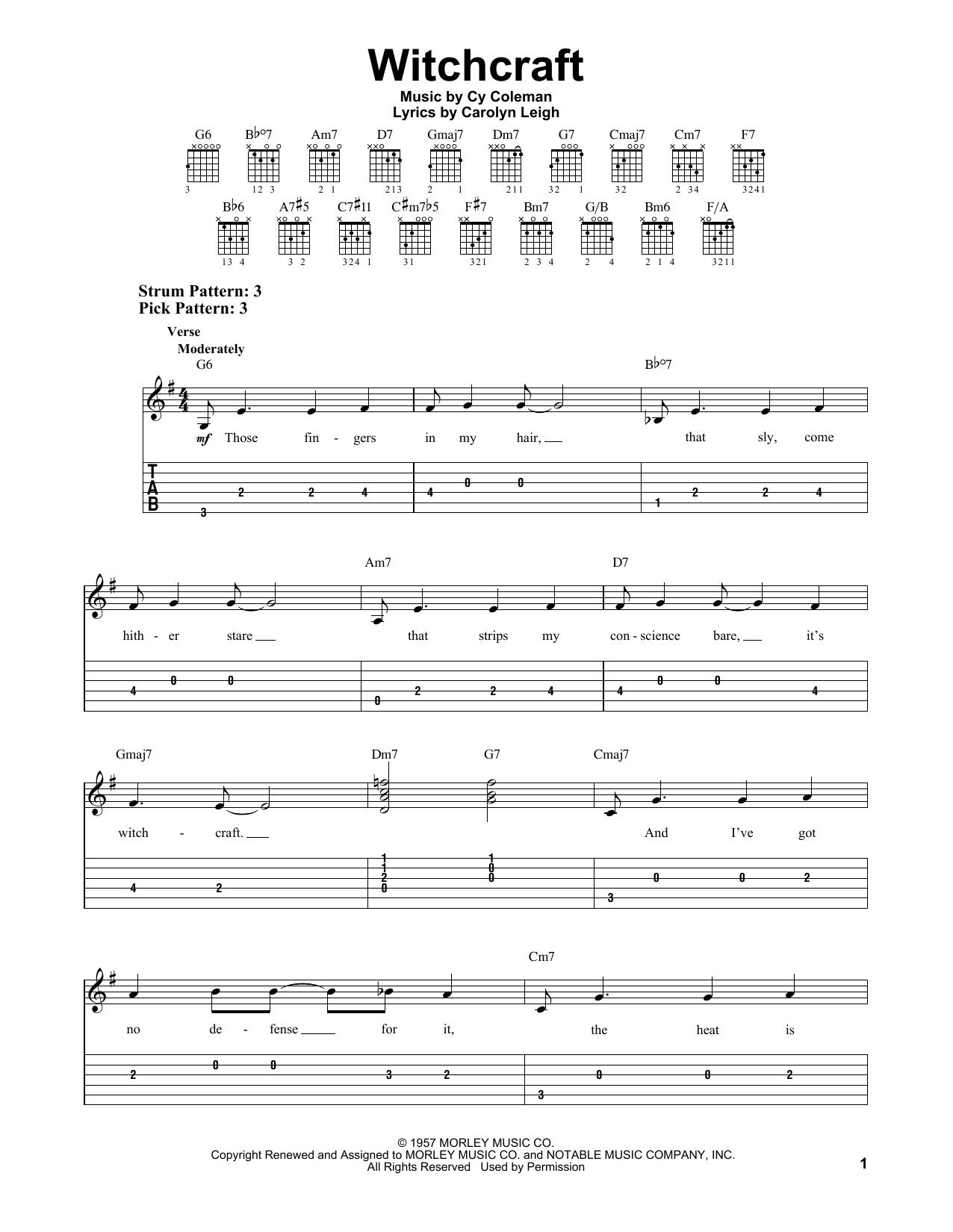 Tablature guitare Witchcraft de Cy Coleman - Tablature guitare facile