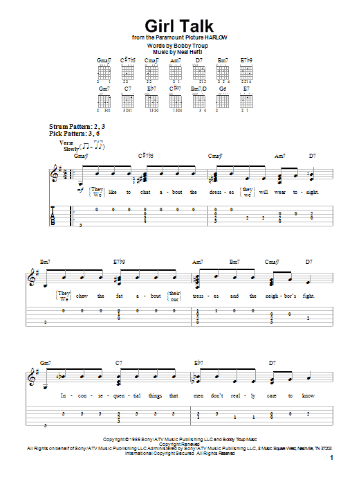 Tablature guitare Girl Talk de Neal Hefti - Tablature guitare facile