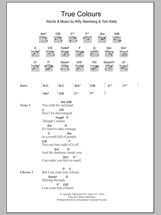 True Colours Sheet Music Cyndi Lauper Lyrics Chords