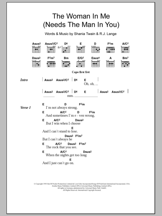 The Woman In Me Needs The Man In You Sheet Music Shania Twain