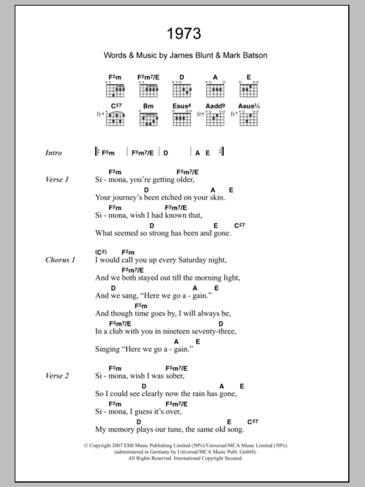 1973 by James Blunt - Guitar Chords/Lyrics - Guitar Instructor