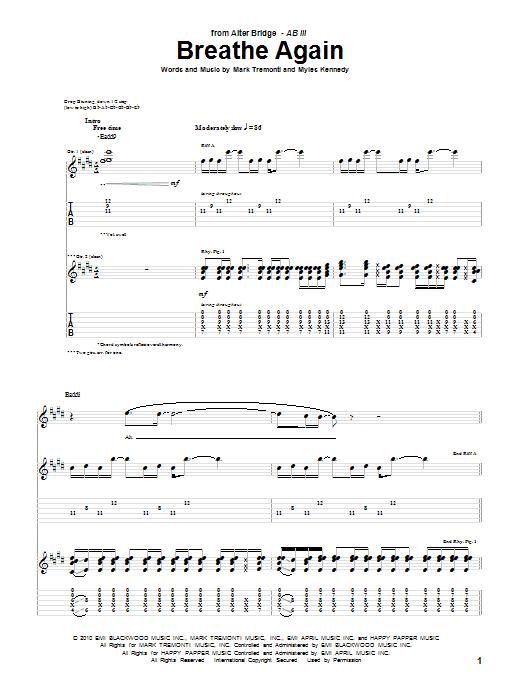 Breathe Again (Guitar Tab)