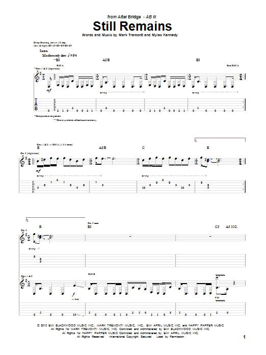Tablature guitare Still Remains de Alter Bridge - Tablature Guitare