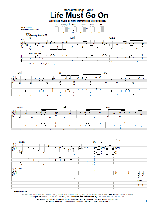 Tablature guitare Life Must Go On de Alter Bridge - Tablature Guitare