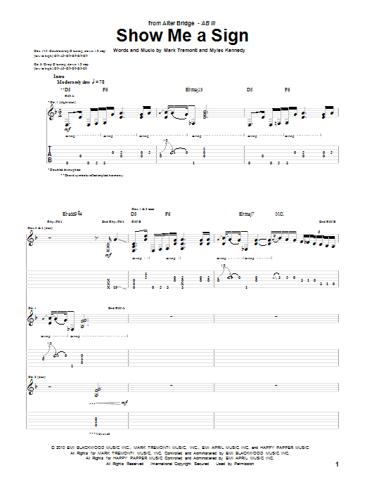 Tablature guitare Show Me A Sign de Alter Bridge - Tablature Guitare