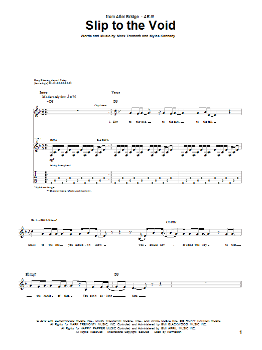 Tablature guitare Slip To The Void de Alter Bridge - Tablature Guitare