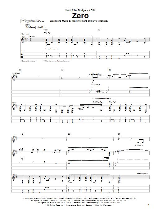 Tablature guitare Zero de Alter Bridge - Tablature Guitare
