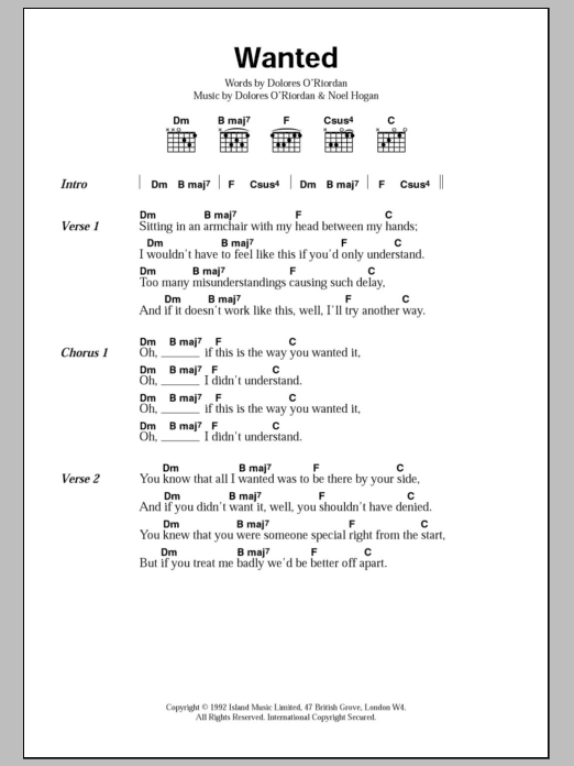 Wanted by The Cranberries - Guitar Chords/Lyrics - Guitar Instructor