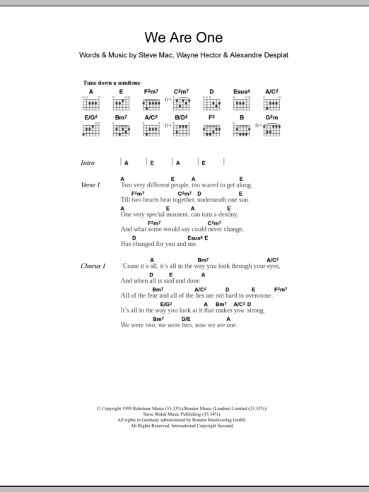 We Are One by Westlife - Guitar Chords/Lyrics - Guitar Instructor