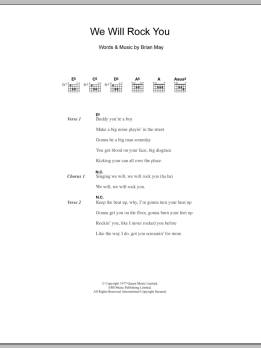 We Will Rock You by Five - Guitar Chords/Lyrics - Guitar Instructor