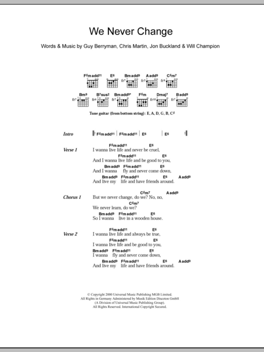 We Never Change by Coldplay - Guitar Chords/Lyrics - Guitar Instructor