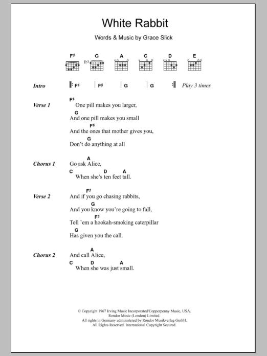 White Rabbit Sheet Music