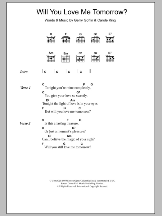 Will You Love Me Tomorrow by The Shirelles - Guitar Chords/Lyrics ...