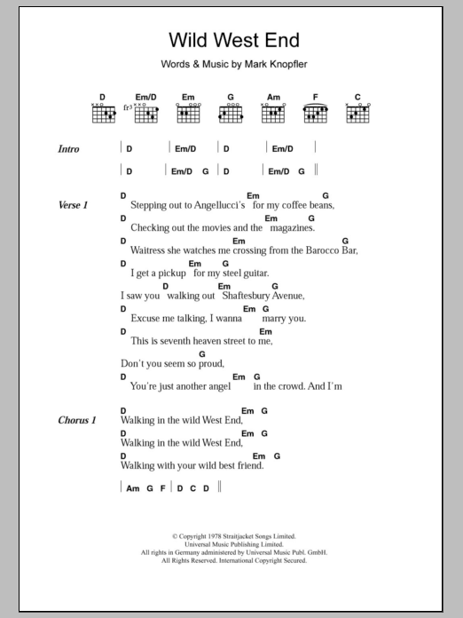 Wild West End By Dire Straits Guitar Chordslyrics Guitar Instructor
