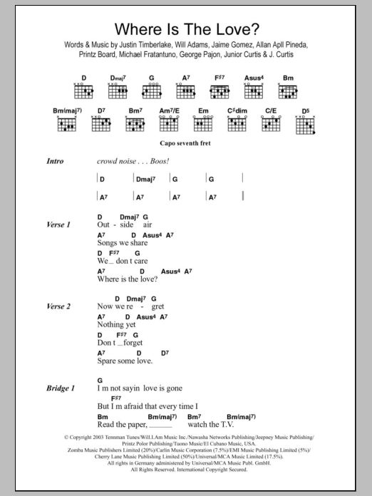 Where Is The Love Sheet Music The Black Eyed Peas Lyrics Chords