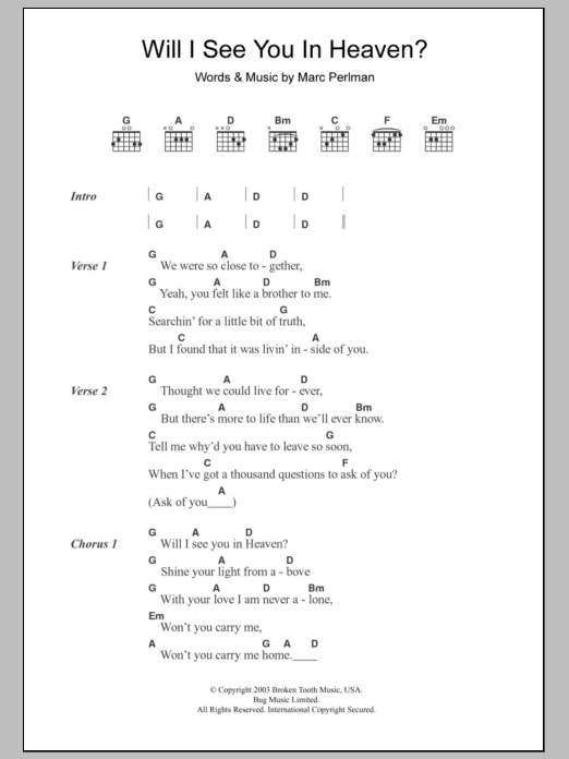 Will I See You In Heaven Sheet Music The Jayhawks Lyrics Chords