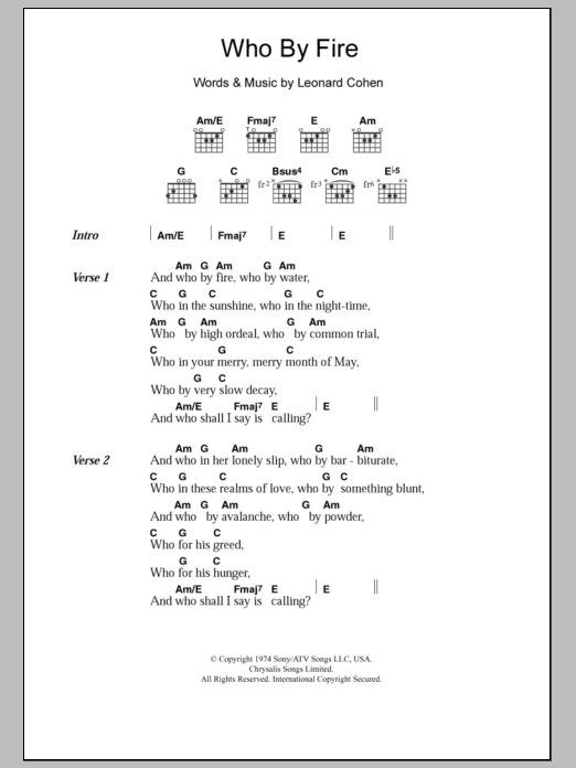 Who By Fire Sheet Music Leonard Cohen Lyrics Chords