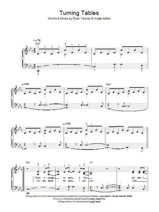Turning Tables Piano Sheet Music Free Juveique27