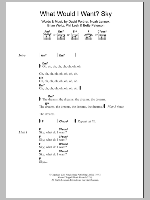 What Would I Want Sky Sheet Music Animal Collective Lyrics Chords