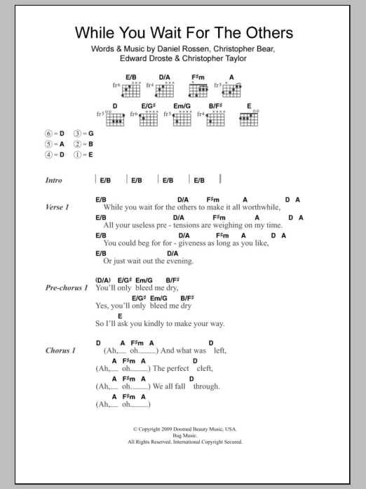 While You Wait For The Others by Grizzly Bear - Guitar Chords/Lyrics ...