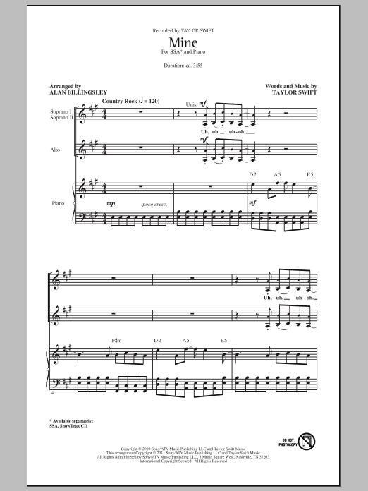 Partition chorale Mine de Taylor Swift - SSA