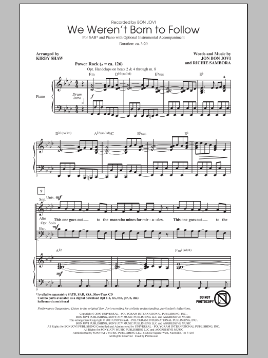 We Weren't Born To Follow (arr. Kirby Shaw) Sheet Music