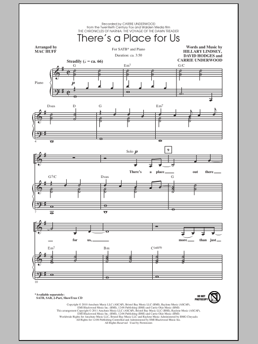 Partition chorale There's A Place For Us de Carrie Underwood - SATB