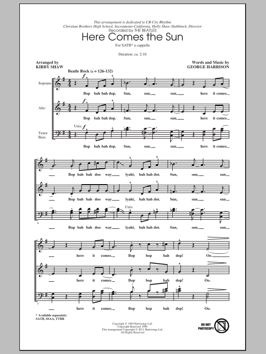 Partition chorale Here Comes The Sun de The Beatles - SATB