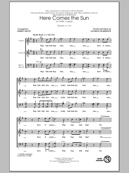 Here Comes The Sun (arr. Kirby Shaw) Sheet Music