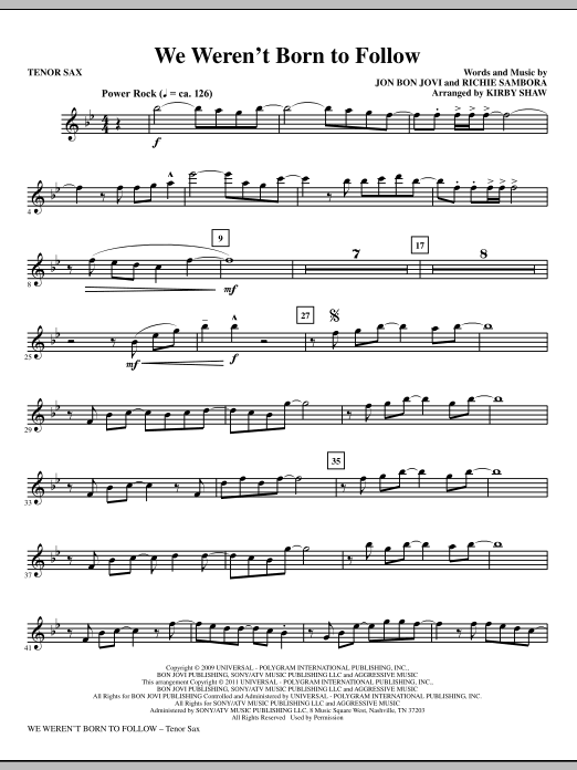 We Weren't Born To Follow - Tenor Sax (Choir Instrumental Pak)