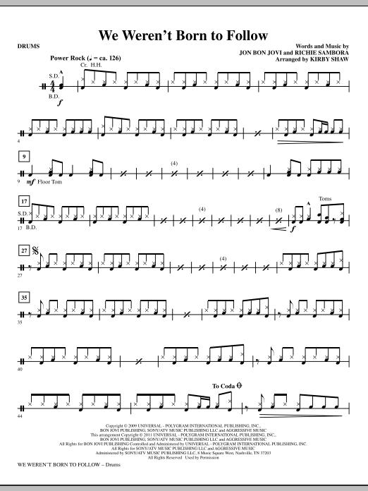 We Weren't Born To Follow - Drums (Choir Instrumental Pak)