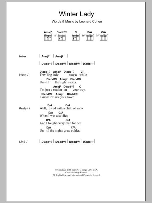Winter Lady By Leonard Cohen Guitar Chordslyrics Guitar Instructor
