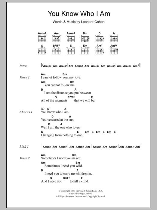 You Know Who I Am by Leonard Cohen - Guitar Chords/Lyrics - Guitar ...