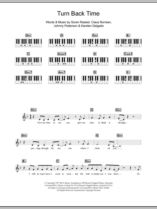 Turn Back Time Sheet Music