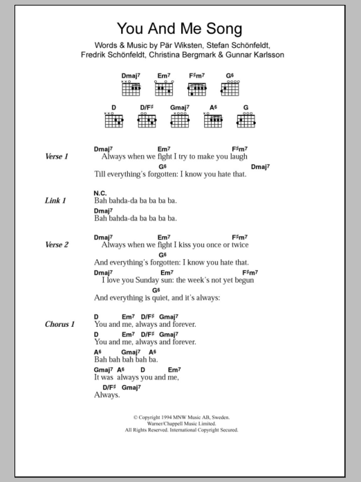 You And Me Song Sheet Music
