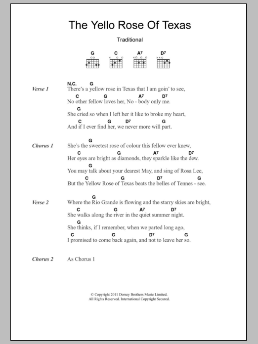 Guitar yellow guitar chords : The Yellow Rose Of Texas by Traditional - Guitar Chords/Lyrics ...
