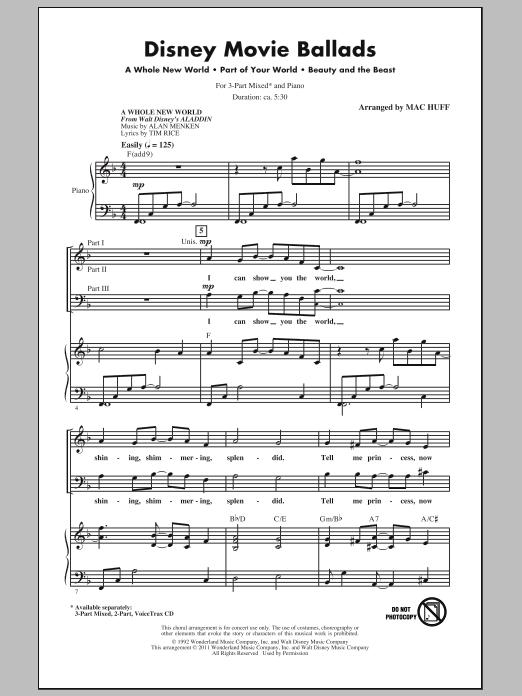 Partition chorale Disney Movie Ballads (Medley) de Mac Huff - 3 voix mixtes