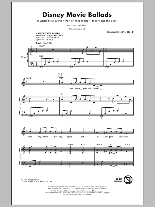 Disney Movie Ballads (Medley) (arr. Mac Huff) (2-Part Choir)