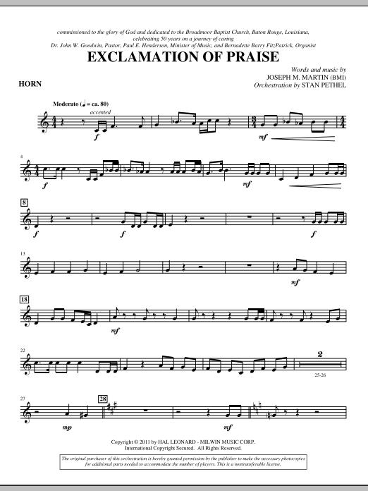 Exclamation Of Praise - F Horn (Choir Instrumental Pak)