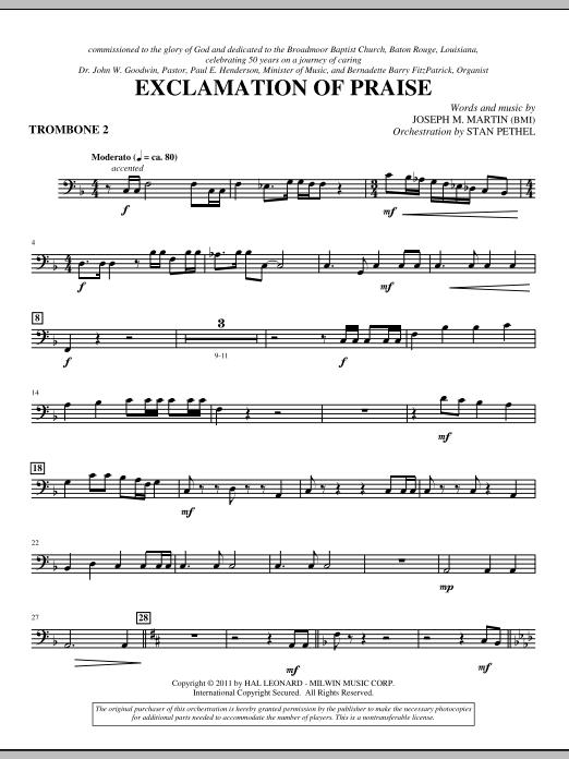Exclamation Of Praise - Trombone 2 (Choir Instrumental Pak)