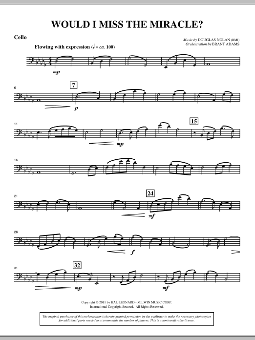 Would I Miss The Miracle? - Cello Sheet Music