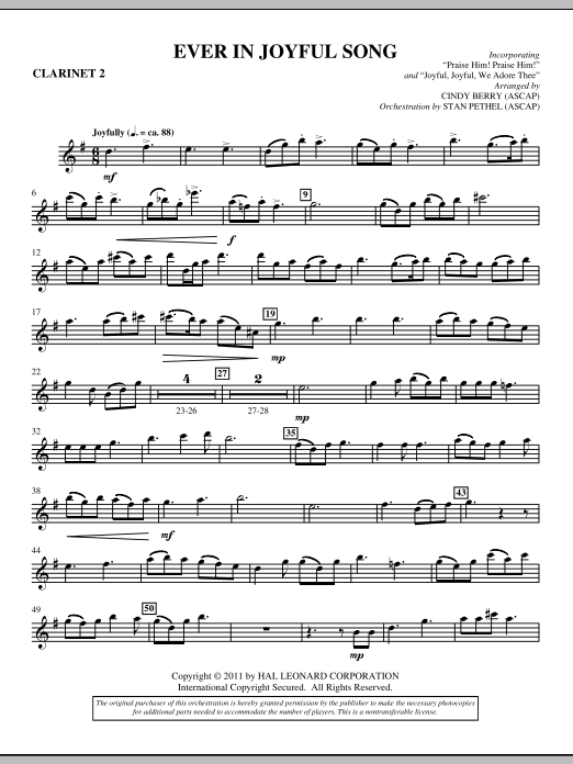 Ever In Joyful Song - Bb Clarinet 2 Sheet Music