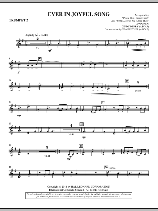 Ever In Joyful Song - Bb Trumpet 2 Sheet Music