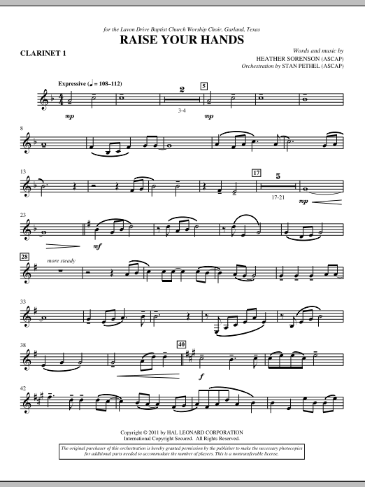 Raise Your Hands - Bb Clarinet 1 (Choir Instrumental Pak)