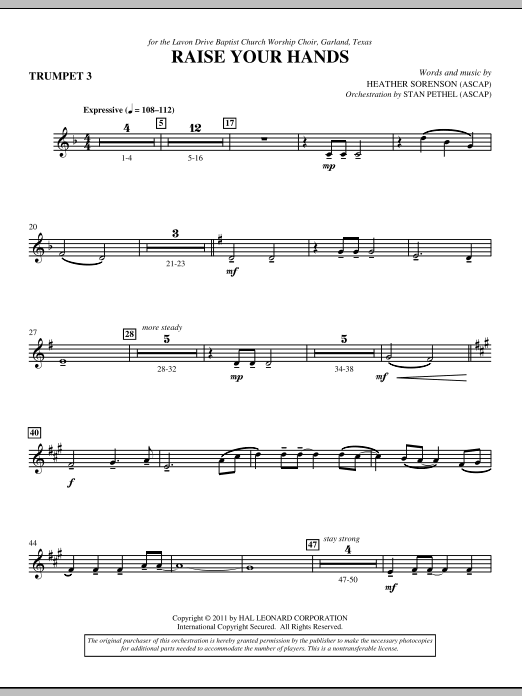 Raise Your Hands - Bb Trumpet 3 (Choir Instrumental Pak)