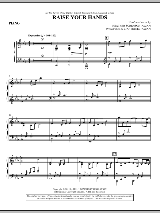 Raise Your Hands - Piano (Choir Instrumental Pak)