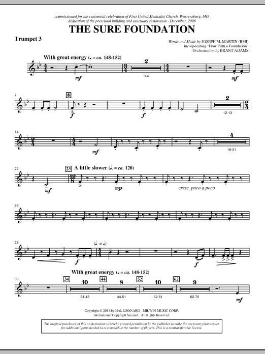 The Sure Foundation - Bb Trumpet 3 (Choir Instrumental Pak)